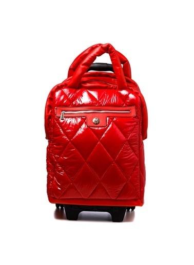 TH Bags TH Bags TH270000 Baklava Desenli Rugan Kadın Valiz Kırmızı